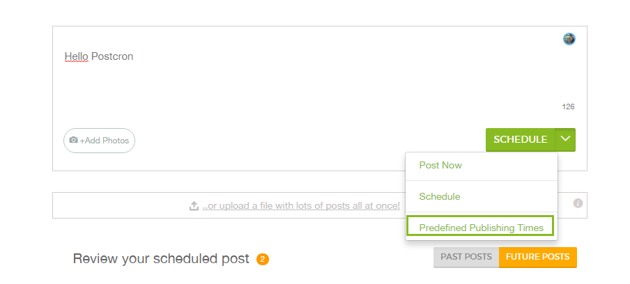 Predefined publishing time on Postcron