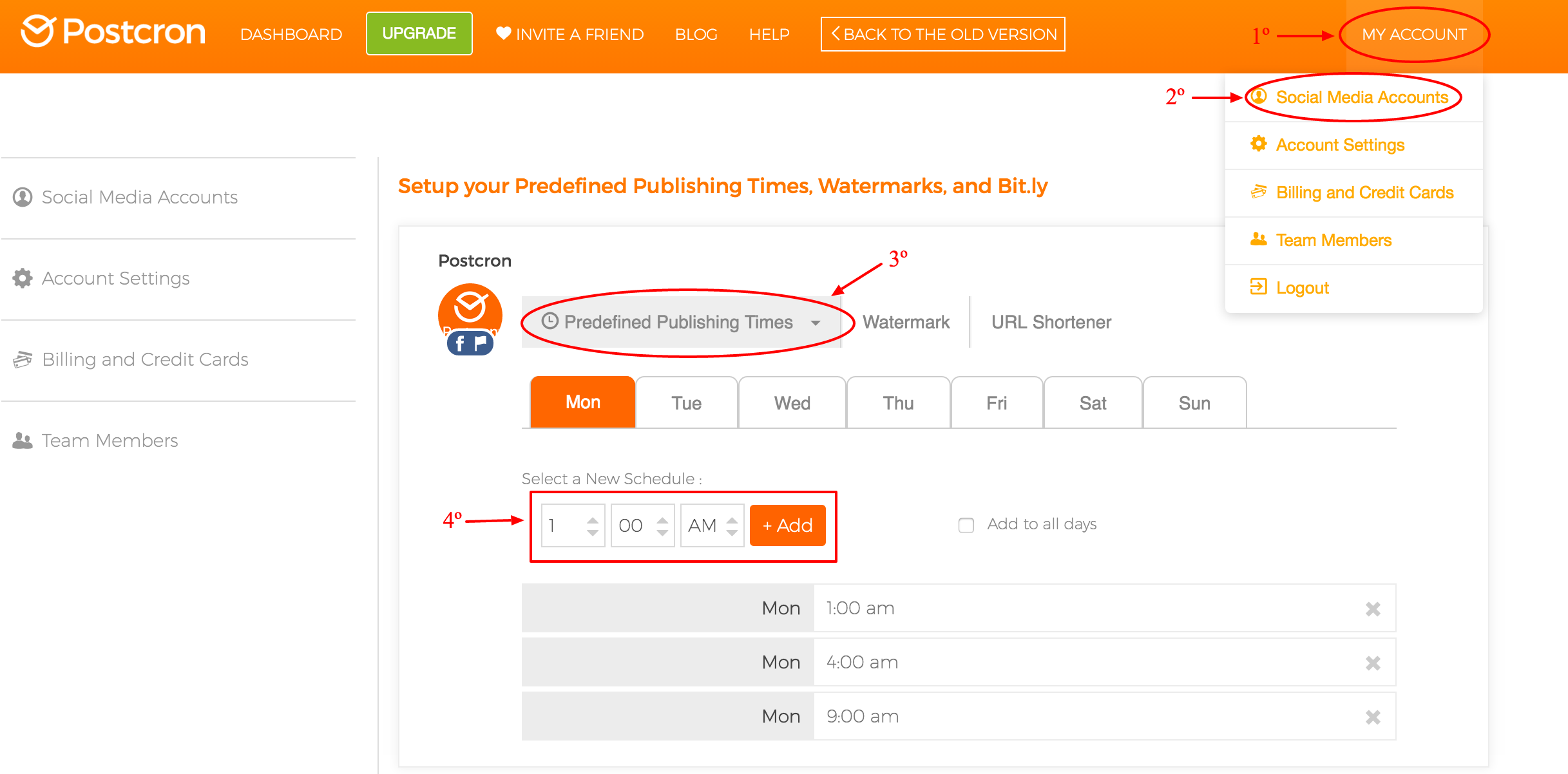 Predefined published times
