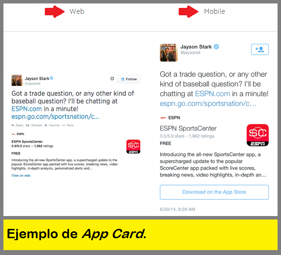 Example of a Twitter App Card