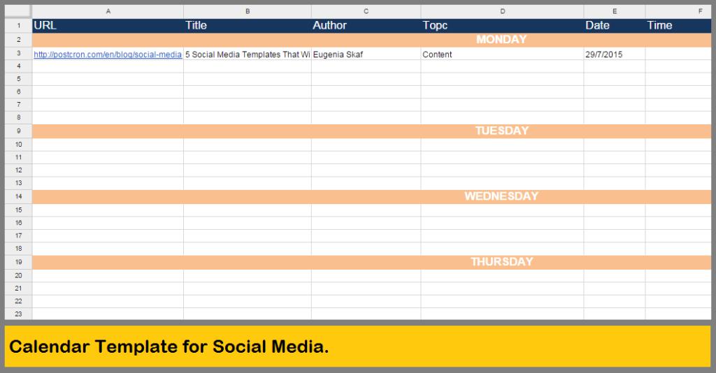 Calendar Template for Social Media