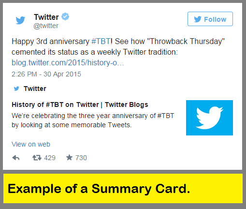 Example of a Twitter Summary Card