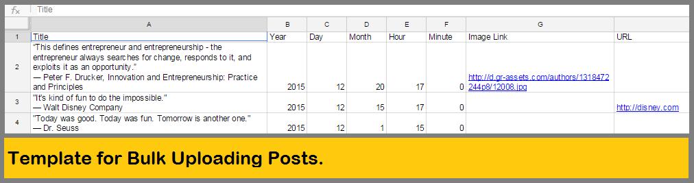 Template for Bulk Uploading Posts