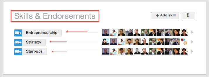 LinkedIn profile endorsements