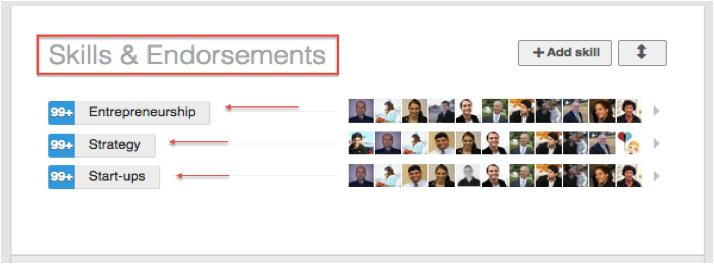 LinkedIn profile endorsements
