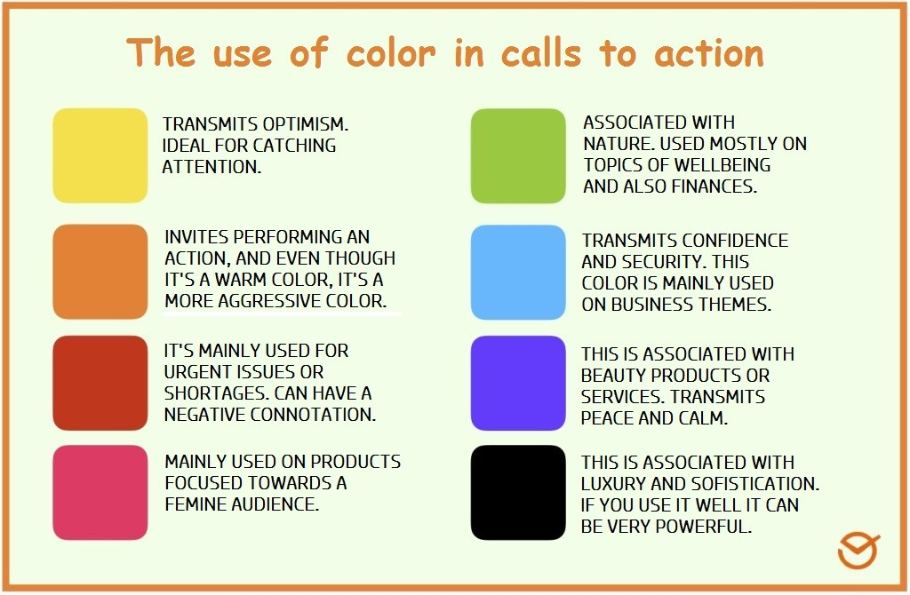 the use of color in calls to action info graphic