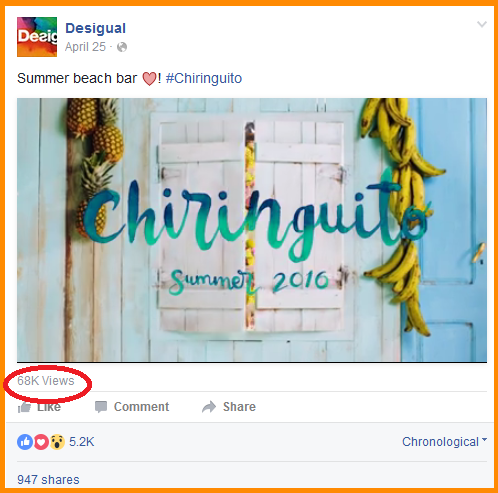 Facebook organic reach desigual video views
