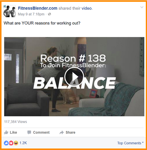 facebook organic reach fitness blender video