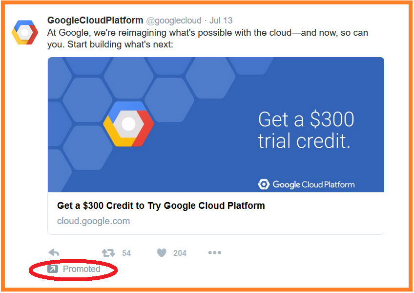 internet advertising Google cloud twitter ad