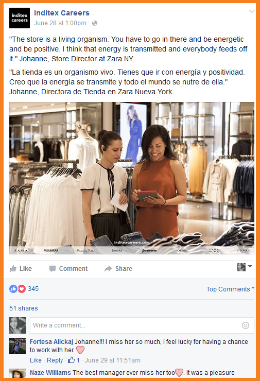 visual content inditex FB page