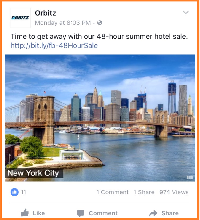 internet advertising orbitz on Facebook