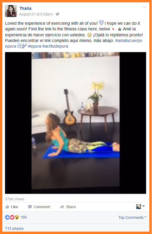 facebook videos Thalia thanks