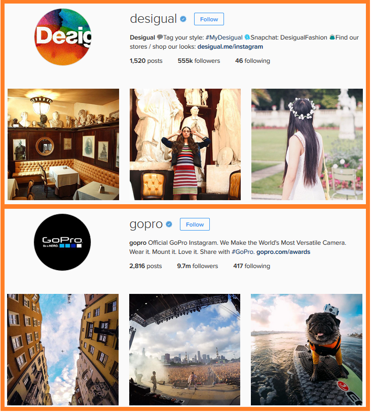 social engagement desigual and gopro profiles