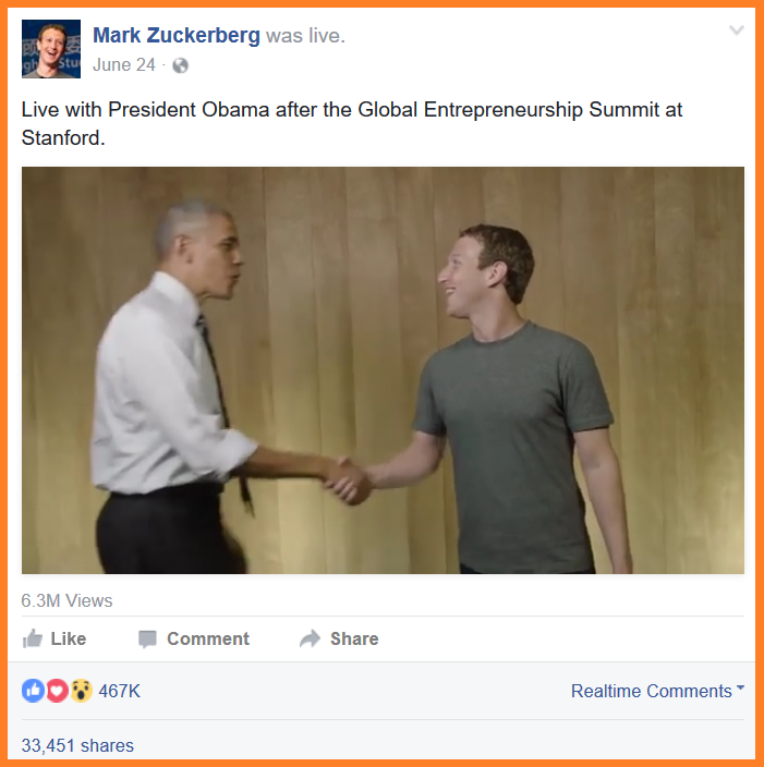 Facebook Live Mark Z