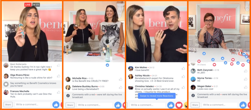Facebook Live benefit cosmetics