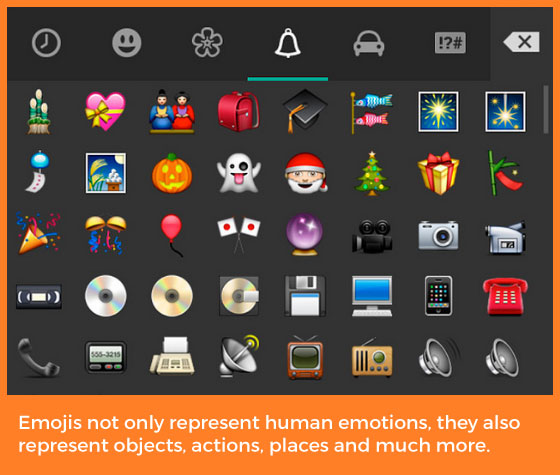 Emojis-not-only-represent-human-emotions,-they-also-represent-objects,-actions,-places-and-much-more.