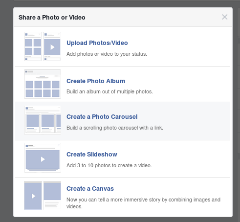 Facebook offers these formats so you can share photographs and videos