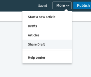 Screen shot showing how to use new LinkedIn updates that allow you to share drafts