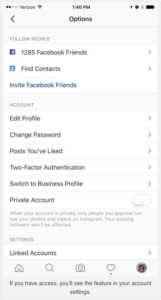 Screen shot showing where to find option to switch to Instagram business profile