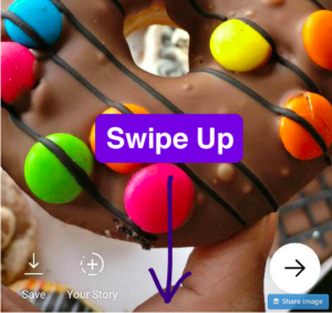 Screen shot of using Instagram stickers to add a call to action in your Instagram story