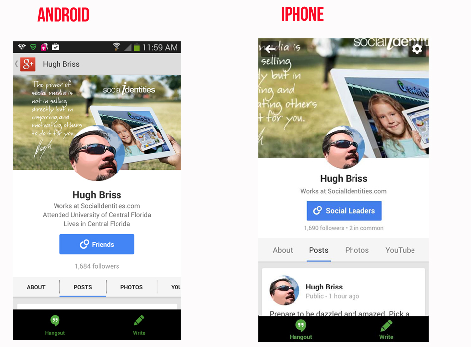 image sizes Android vs. iOS G+