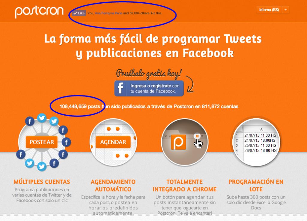 Postcron Programar publicaciones en Facebook, Twitter y G+