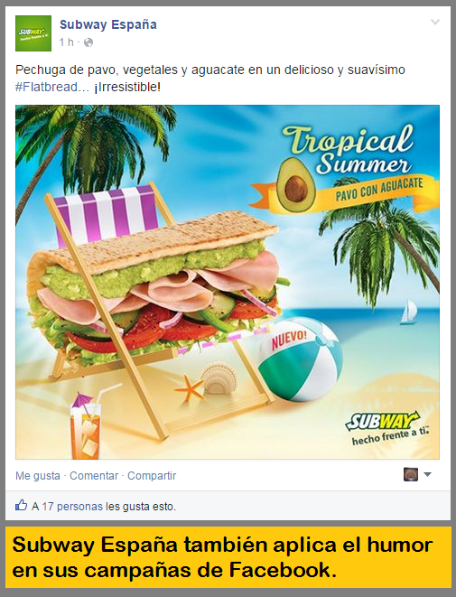 Subway utiliza humor en Facebook