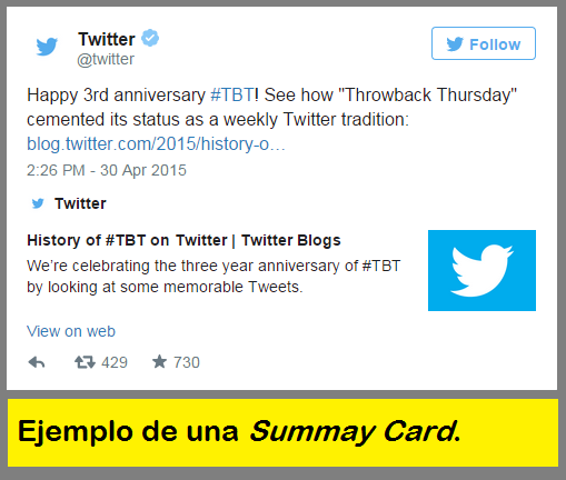 Summary Card - Ejemplo Twitter Card