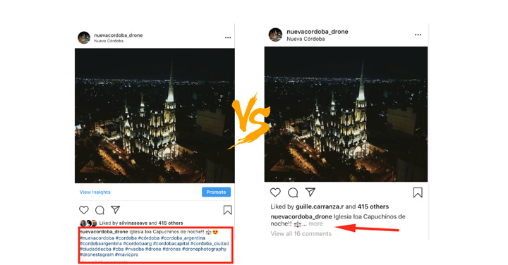 ocultar hashtags de instagram
