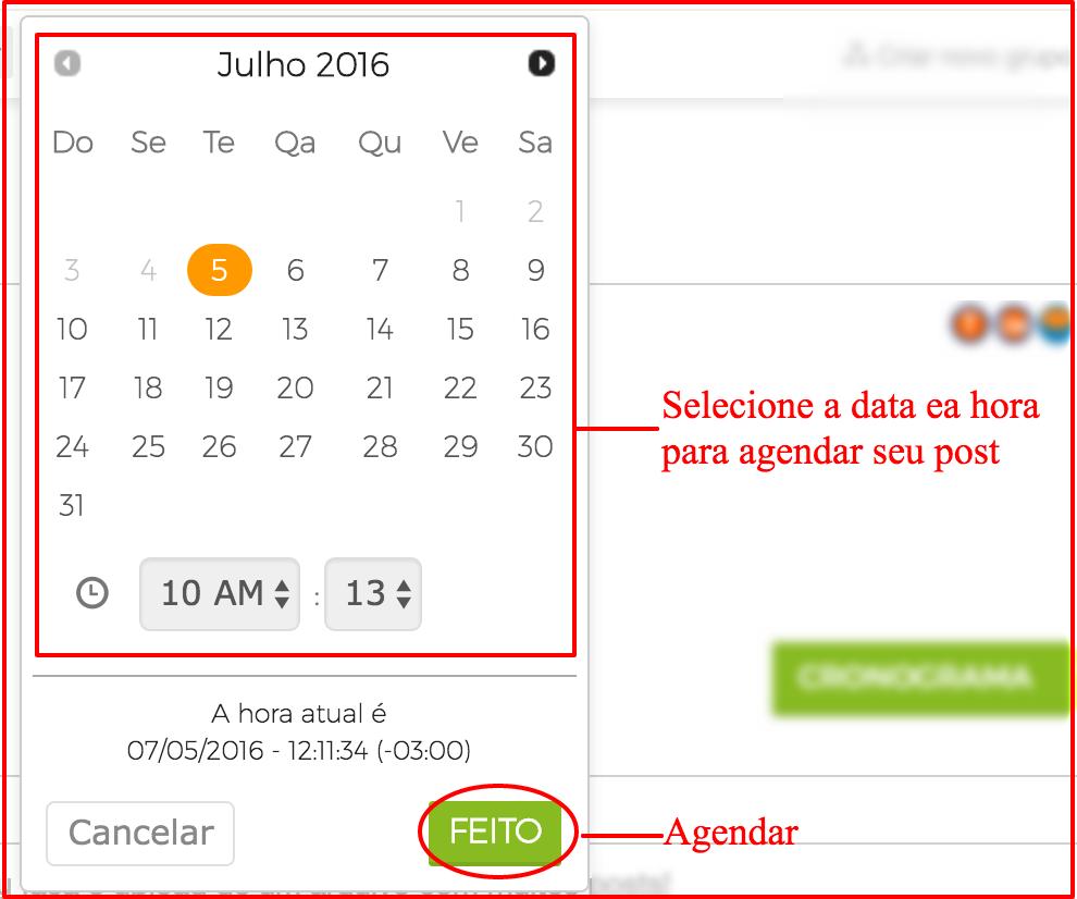 Agendar posts nos Grupos do Facebook data e hora