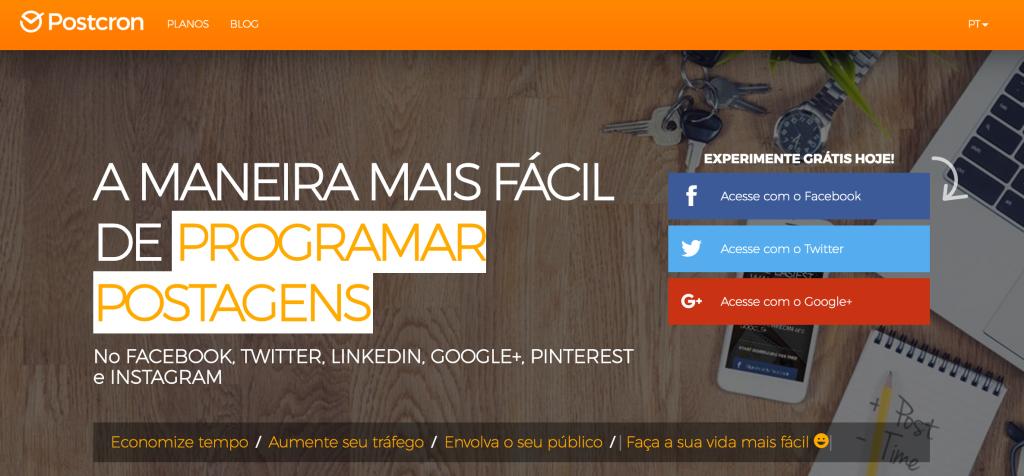 Postcron Programa para Agendar Postagens no Facebook Twitter Google e Pinterest