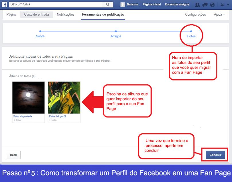 Como transformar um perfil de Facebook em uma Fan Page 5