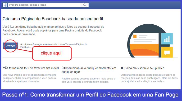 Crie uma Pagina do Facebook baseada no seu perfil