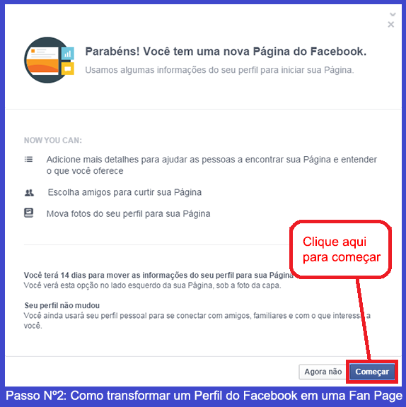 Como transformar um perfil de Facebook em uma Fan Page 1
