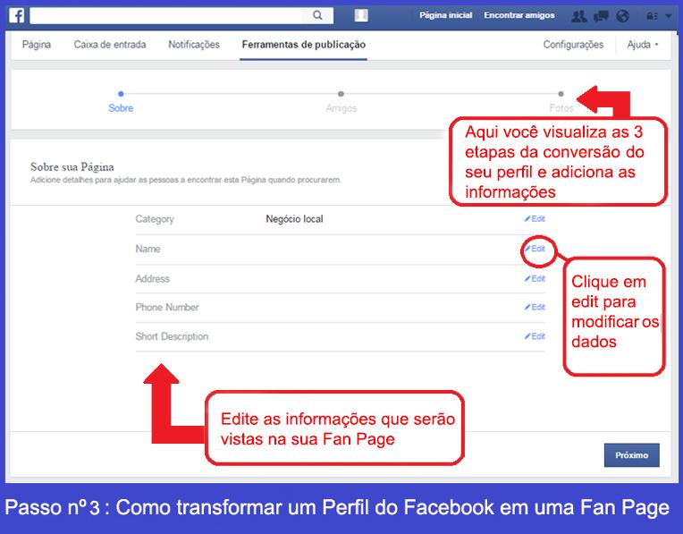 Como transformar um perfil de Facebook em uma Fan Page 2