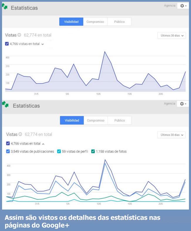 User statistics social networks - details google +