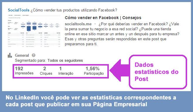 User statistics social networks - Stats business page posts linkedin
